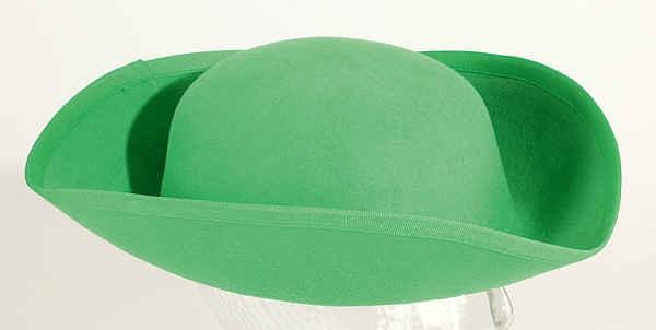 Gardehut: Dreispitz, grün ( Rohling ) - 100 % Wollfilz - Größe: 55, 57, 58, 60