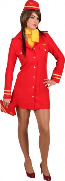Stewardess,rot (Kleid, Haube, Tuch) in den Größen 32 bis 46