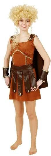 Faschingskostüm Damen Gladiator Frau - (Kleid, Umhang, Gürtel, Armstulpen) - 100%Polyester SUD, LIT
