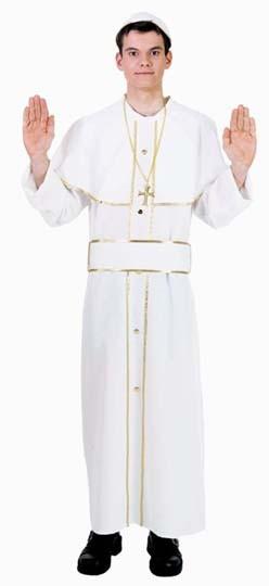 Fasching Kostüm Herren Papst Gewand mit Mütze