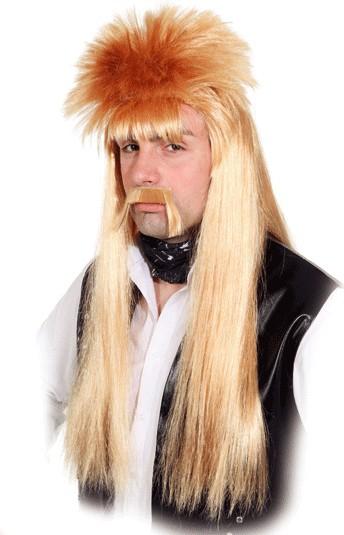 Fasching Perücke Herren Rocker Manni (Perücke mit Bart) rot-blond