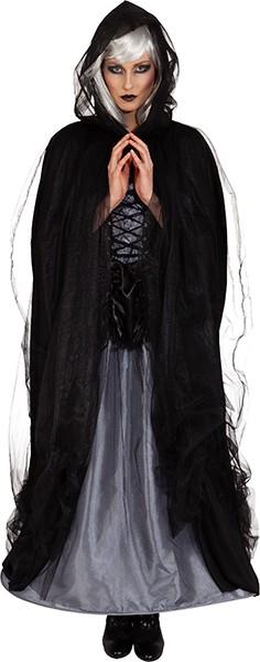Umhang mit Tüll, schwarz - Größe: Einheitsgröße