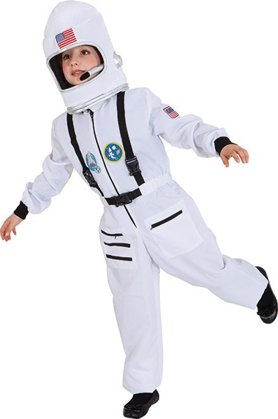 Astronautenoverall, weiß für Kinder - Größe: 104/116 - 128/140