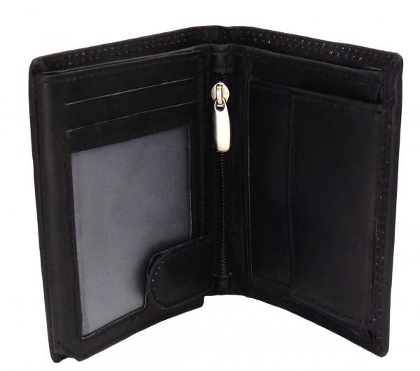 Kompaktes Damen Portemonnaie Geldbörse schwarz mit 14 Fächern - Echt Leder