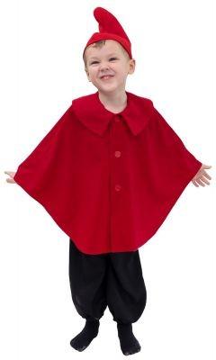 Fasching Kostüm Kinder Zwerg Umhang rot