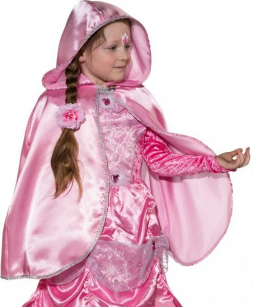 Fasching Kostüm Kinder Cape mit Kapuze rosa - für Prinzessin