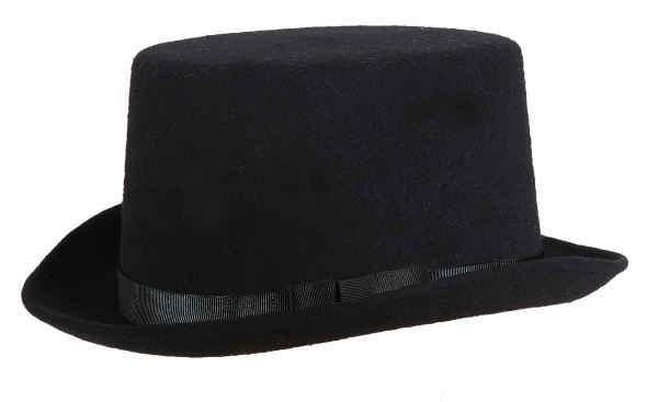 Zylinder, schwarz mit Ripsband und eingenähtem Hutband, 11 cm hoch