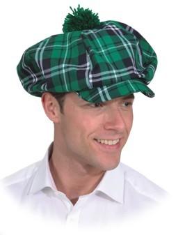 Mütze, grün kariert