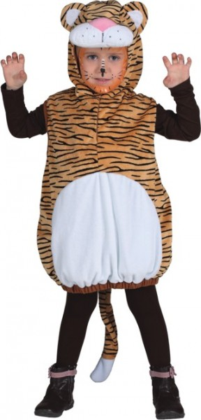 Faschingskostüm für Kinder: Tiger (Weste mit Kapuze) - Einheitsgröße 104
