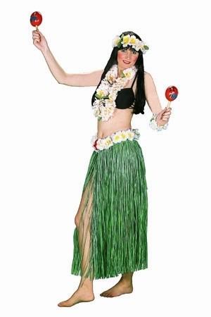 Hawaii Set, 80cm (Rock mit Blüten, Kette, Kopfband, Armband) in natur oder grün