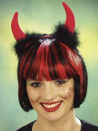 Teufel-Haarreif, rote Hörner mit schwarzem Marabu