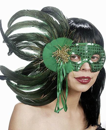 Faschings Feder Maske - Farbe: grün