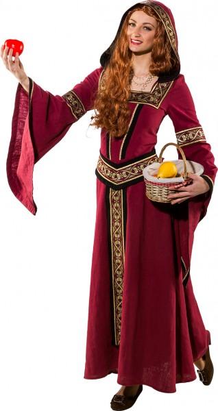 Fasching Kostüm Damen Mittelalter Kleid weinrot
