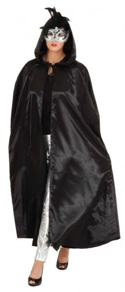 Satin-Umhang mit Kapuze, schwarz - Größe: Unisize