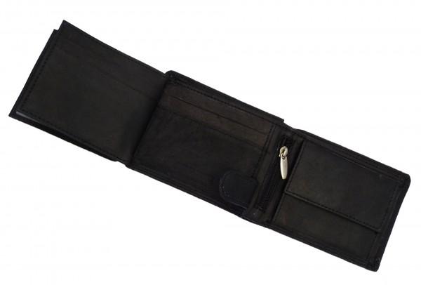 Kompaktes Portemonnaie Geldbörse schwarz mit 13 Fächern - Echt Leder
