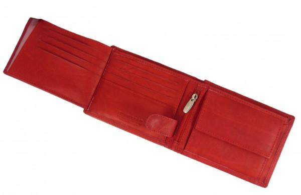 Kompaktes Portemonnaie / Geldbörse rot mit 13 Fächern - Echt Leder