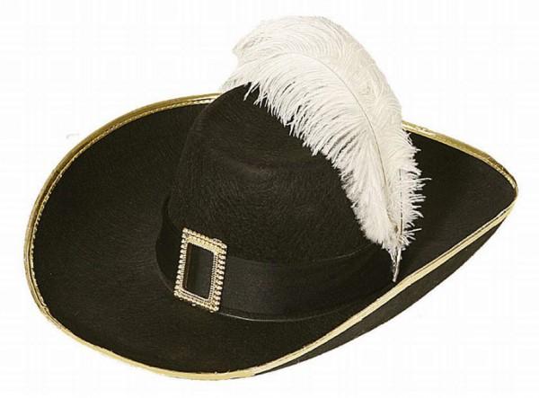 Faschingshut Musketierhut mit Schnalle schwarz - 100% Polyester - Kopfweite 57, 59