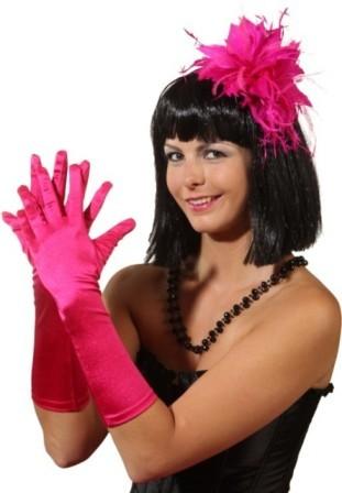 Faschingszubehör Damen Satin-Handschuhe ca. 40cm pink
