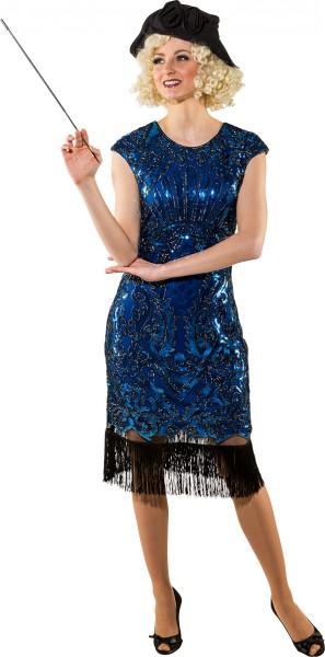 Fasching Kostüm Damen Charleston 20er Jahre Kleid blau