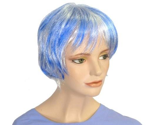 Faschingsperücke Damen: Mara, blau-weiß