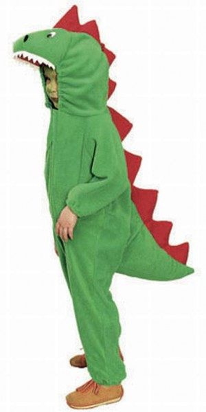 Fasching Kostüm Kinder Drache grün - Overall mit Kapuze
