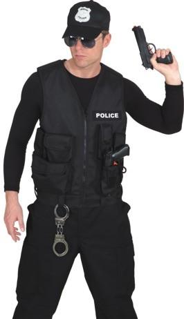 Policeweste, schwarz - Größe: Unisize