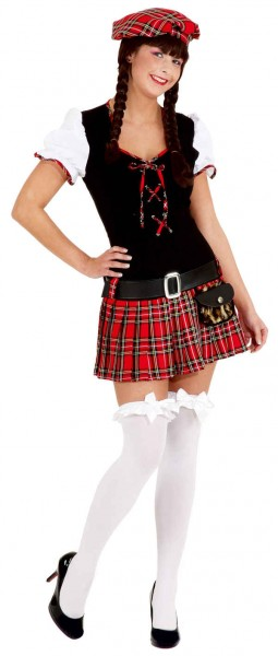 Scottish Girl, rot (Kleid, Barett, Gürtel) - Größe: 34 - 44