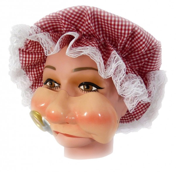 Maske Baby mit Pausbäckchen und Nuckel - Plastewangen mit Gummizug