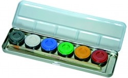 Fasching Schminke 6-Farben Metall-Palette