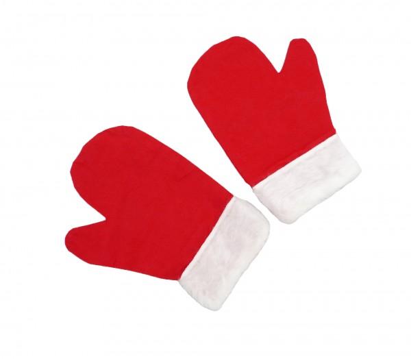 Weihnachten Weihnachtsmann Handschuhe mit Fellbesatz, unisize, einfach