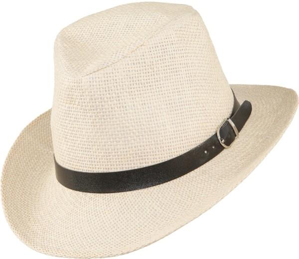 Faschingshut Strohhut mit Lederband Panama Hut