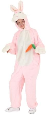 Hase, rosa mit Möhre für Damen (Overall mit Kopf) - Größe: Einheitsgröße bis 42