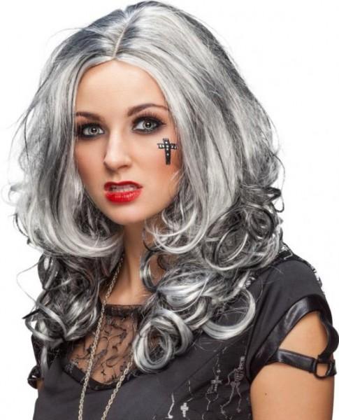 Perücke Kelly grau-schwarz meliert