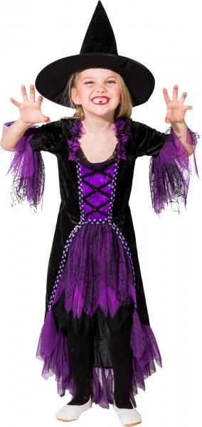 Fasching Kostüm Kinder Hexe lila/schwarz - Kleid mit Spitzhut