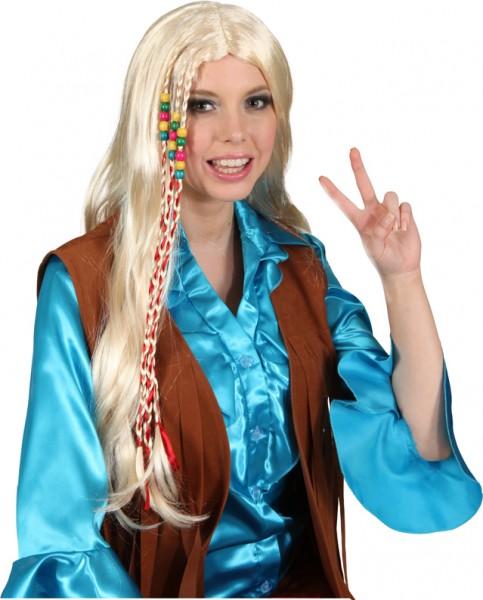 Fasching Perücke Damen Hippie (Perücke mit Band) blond o. schwarz