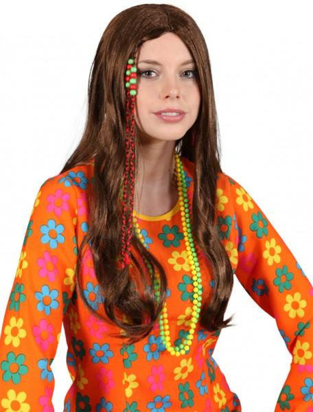 Fasching Perücke Damen Hippie (Perücke mit Band) braun