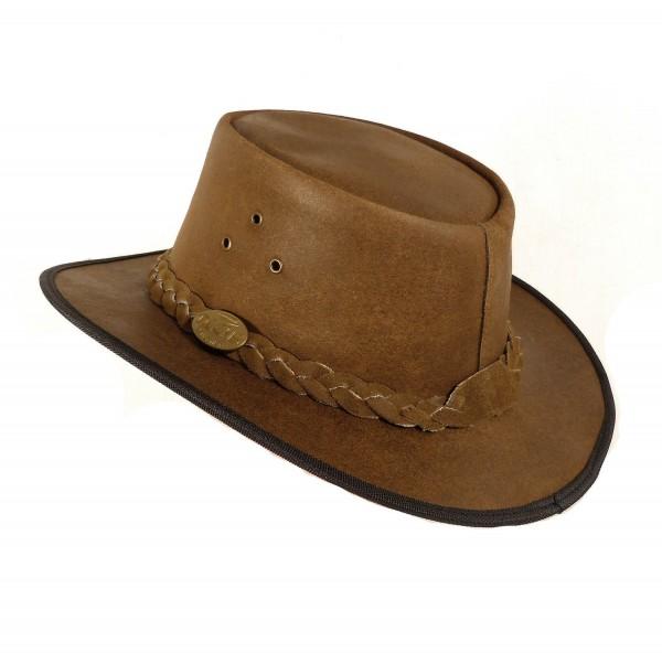 Echt Leder Outdoorhut Cowboyhut Westernhut Braun - Camel Color Splitt