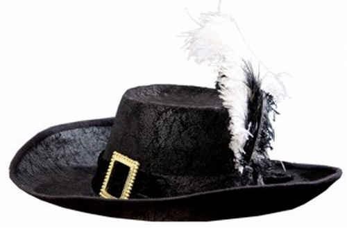 Musketierhut, schwarz mit Band und 2 Federn, KW 59