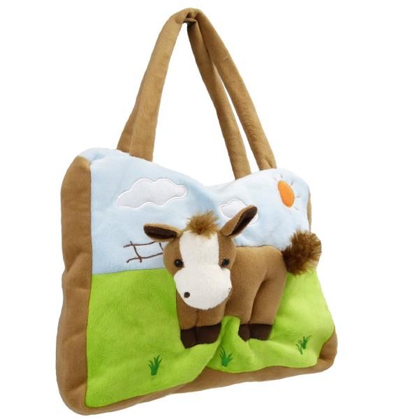 Kinderhandtasche braune Kuh für Jungen und Mädche