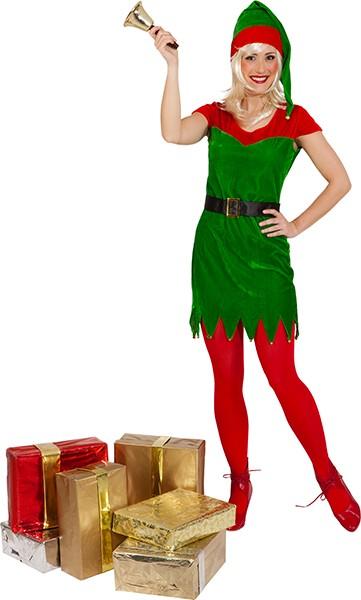Weihnachtselfe (Kleid, Mütze, Gürtel) in den Größen 34/36 bis 42/44