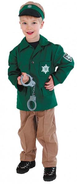 Kinder Polizist, grün - Jacke, Hose, Mütze - in den Größen 104 bis 140