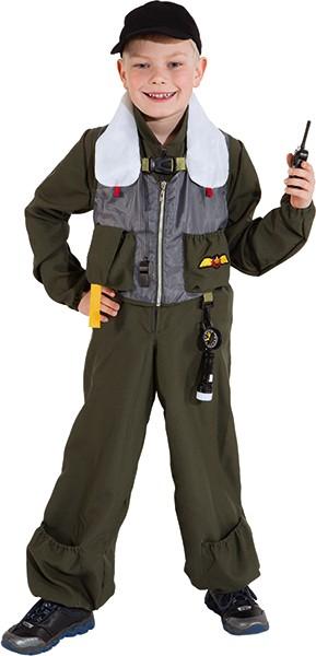 Fasching Kostüm Kinder Jet-Pilot - Overall, Basecape, Pfeife, Walkie Talkie, Kompass
