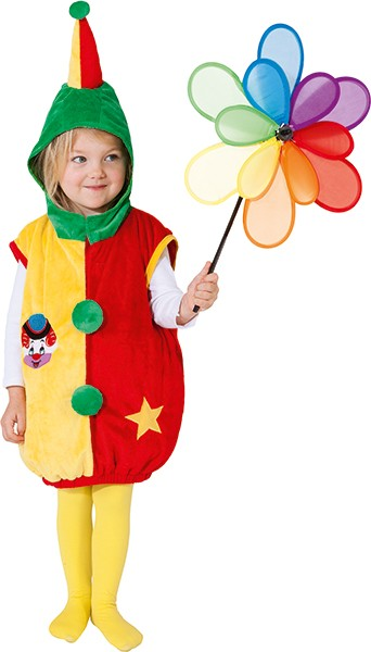 Clown Weste, rot-gelb-grün (Weste mit Kapuze) - Größe: 104