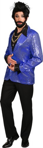 Fasching Herren Pailletten Showjacket blau