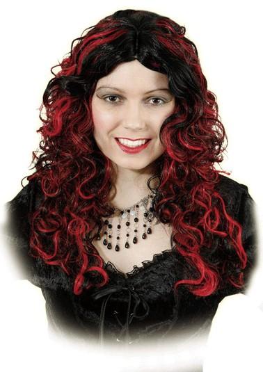 Perücke Emily, rot-schwarz