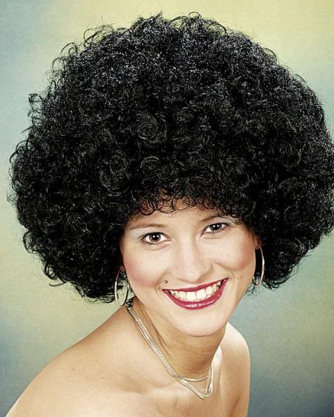 Perücke Hair große Locke, schwarz