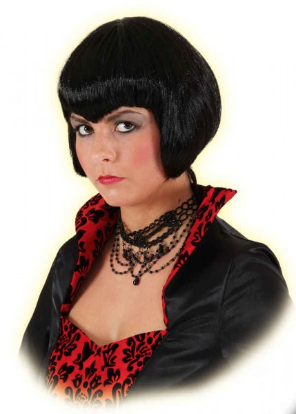 Faschingsperücke Damen: »Vamp«, kurze schwarze Haare 100 % Polyester