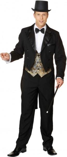 Herrenfrack mit Satinkragen und Futterstoff, schwarz - Größe: 46 - 60