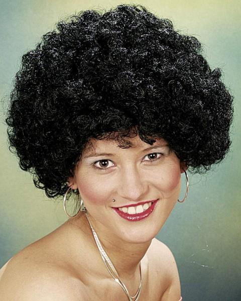 Faschingsperücke Hair, kleine Locke schwarz