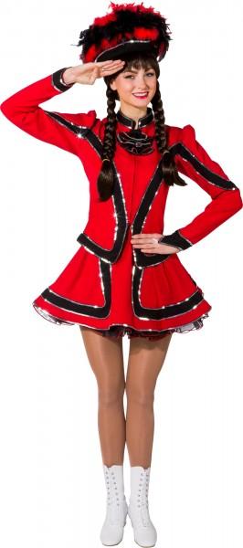 Fasching Damen Garde Funkenkostüm rot-schwarz
